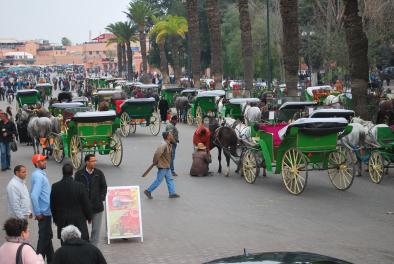 de koetsjes voor de toeristen tussen het plein en de Koutoubiamoskee