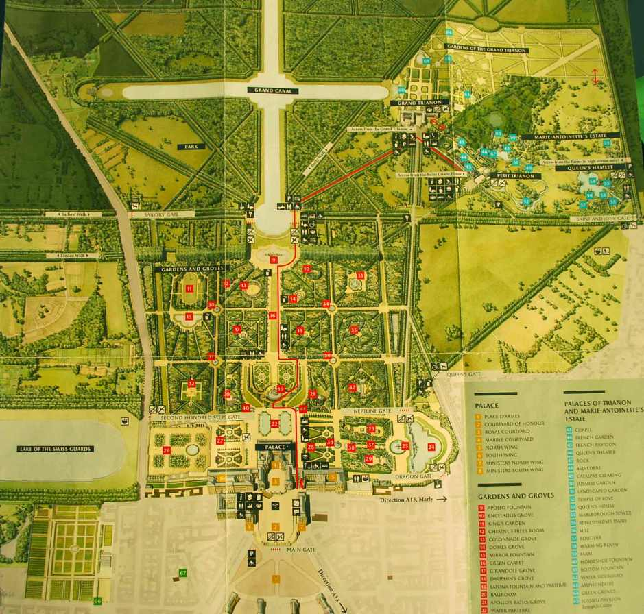 overzichtskaart van de tuinen van Versailles