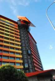 kevertjes die tegen het gebouw opklimmen