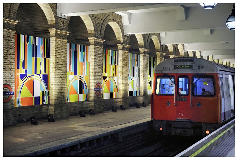 Sarah Morris Wall Painting London Underground Big Ben Art